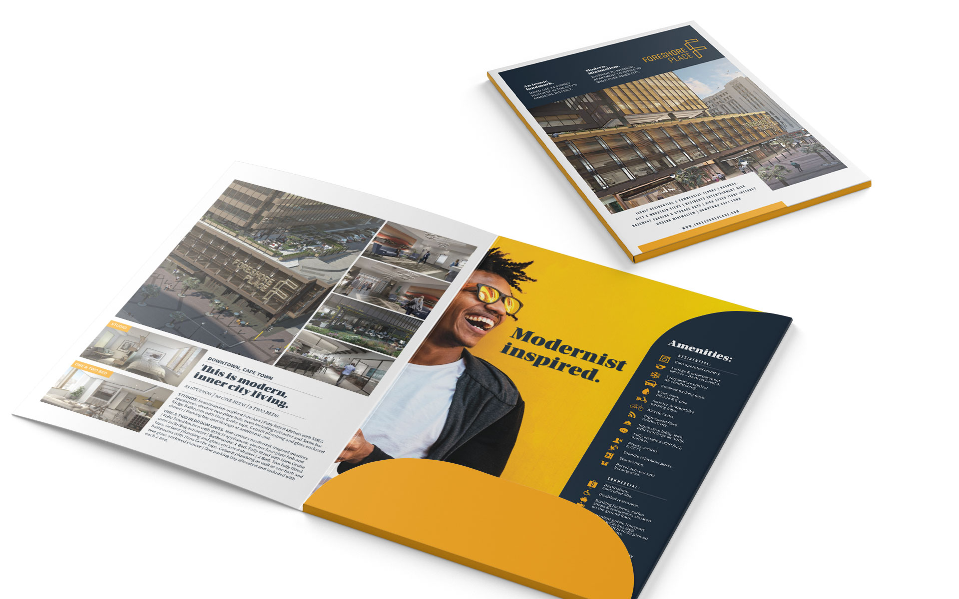 sales and marketing printed brochures showing branded property development project