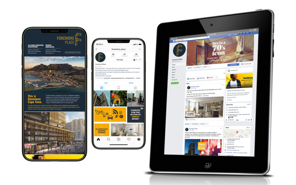 digital devices showing Foreshore Place branded property development project