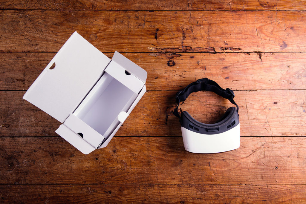 virtual reality headset is used to view  unbuilt architecture using immersive technology.