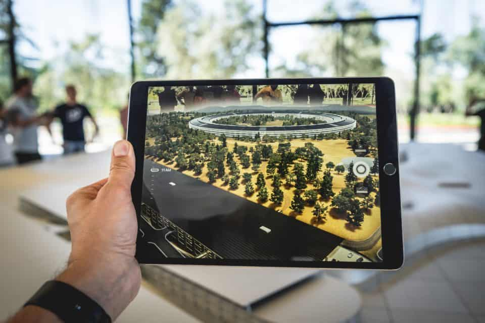 augmented reality image on ipad of Apple headquarters in California