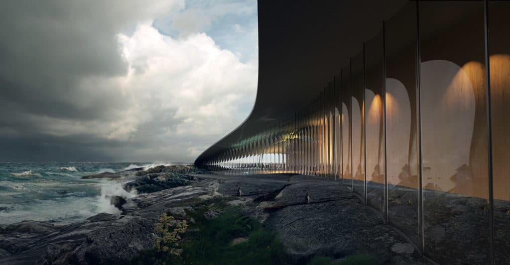 Dorte Mandrup Whale watching facility, CGI by MIR
